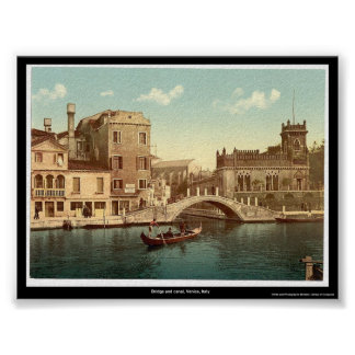 Bridge and canal, Venice, Italy Poster