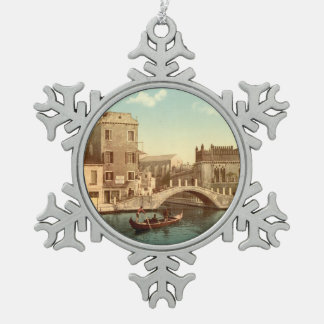 Bridge and Canal, Venice, Italy Snowflake Pewter Christmas Ornament