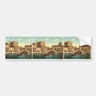 Bridge and canal, Venice, Italy vintage Photochrom Bumper Sticker