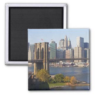 Bridge and Cityscape Square Magnet