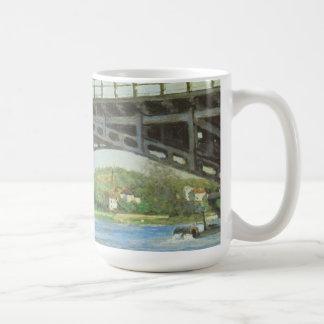 Bridge at Argenteuil by Caillebotte, Vintage Art Basic White Mug