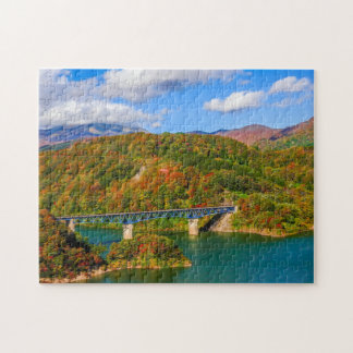 Bridge autumn colorful wood jigsaw puzzle