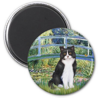 Bridge - Black and White cat Refrigerator Magnet