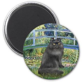 Bridge -Black Persian cat 6 Cm Round Magnet