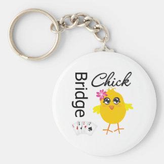 Bridge Chick Basic Round Button Key Ring