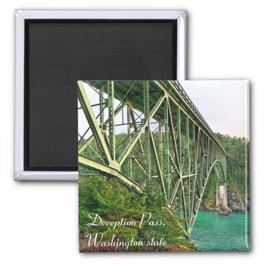 bridge, Deception Pass, Washington state Square Magnet