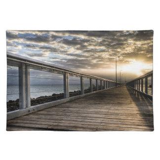 Bridge during sunset placemats