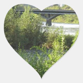 Bridge from the Rver Bank Heart Sticker