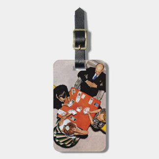 Bridge Game by Norman Rockwell Luggage Tag