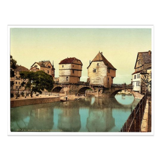 Bridge houses, Kreuznach (i.e., Bad Kreuznach), Na Postcard