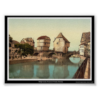 Bridge houses, Kreuznach, Prussia, Germany Poster