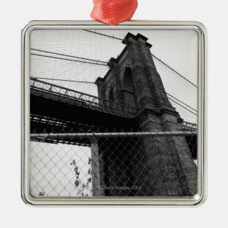 Bridge In Manhattan Silver-Colored Square Decoration