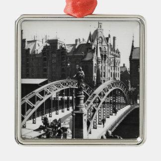 Bridge in the Speicherstadt  Hamburg, c.1910 Silver-Colored Square Decoration