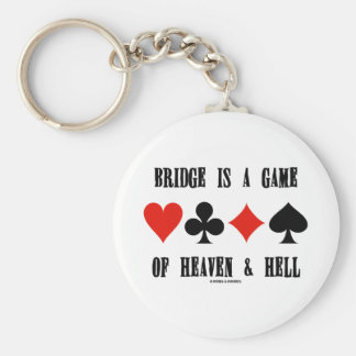 Bridge Is A Game Of Heaven & Hell (Card Suits) Basic Round Button Key Ring