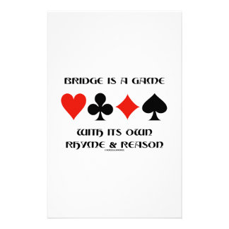 Bridge Is A Game With Its Own Rhyme And Reason Stationery Design