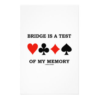 Bridge Is A Test Of My Memory Four Card Suits Stationery Paper