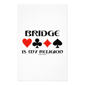 Bridge Is My Religion (Four Card Suits) Stationery Paper