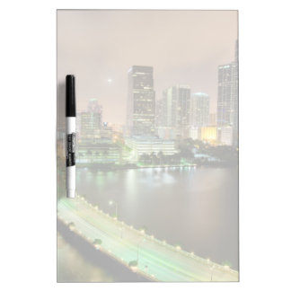 Bridge leads across waterway to downtown Miami Dry Erase Board