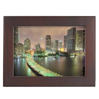 Bridge leads across waterway to downtown Miami Keepsake Box