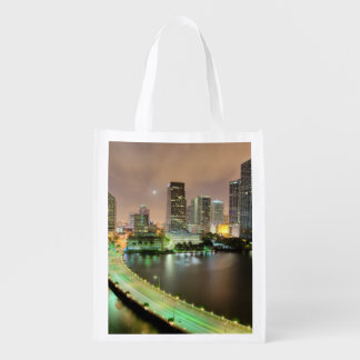 Bridge leads across waterway to downtown Miami Reusable Grocery Bag