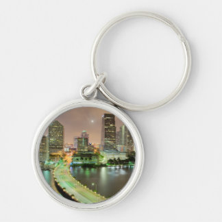 Bridge leads across waterway to downtown Miami Silver-Colored Round Key Ring
