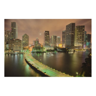 Bridge leads across waterway to downtown Miami Wood Wall Art