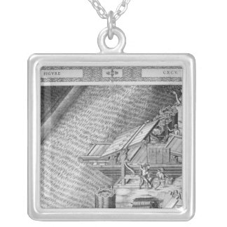 Bridge made in the shape of a boat silver plated necklace