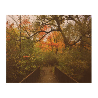 Bridge of Autumn Wood Print