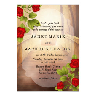 Bridge of Love, Nature Wedding - Red Roses 13 Cm X 18 Cm Invitation Card