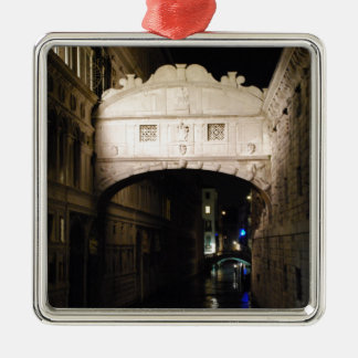 Bridge of Sighs at night Silver-Colored Square Decoration