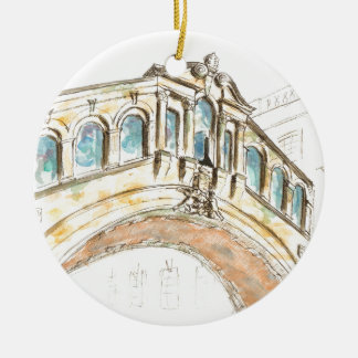 Bridge of Sighs watercolour drawing Christmas Ornament