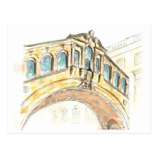 Bridge of Sighs watercolour drawing Postcard