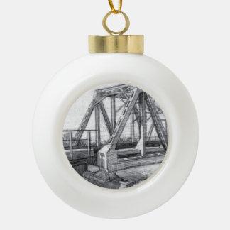 Bridge old ceramic ball christmas ornament