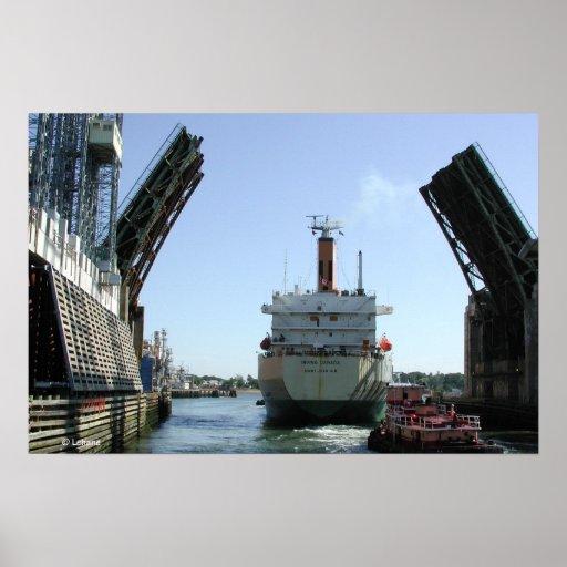 Bridge Opens for Oil Tanker Print