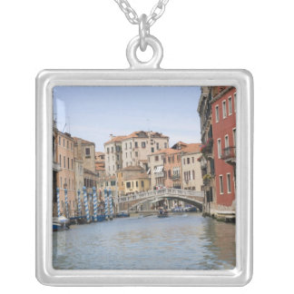 Bridge over a canal, Grand Canal, Venice, Italy Silver Plated Necklace
