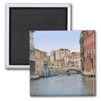 Bridge over a canal, Grand Canal, Venice, Italy Square Magnet