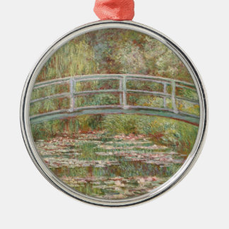 Bridge Over a Pond of Water Lilies Silver-Colored Round Decoration
