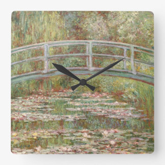 Bridge Over a Pond of Water Lilies Square Wall Clock