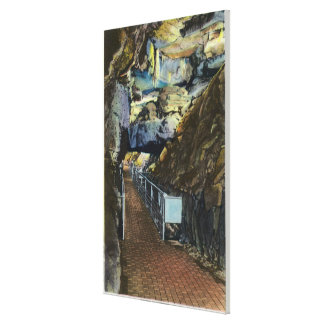 Bridge over Chasm Showing Balanced Rock Stretched Canvas Print