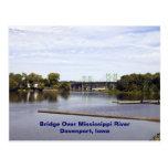 Bridge Over Mississippi River Davenport, Iowa Postcard