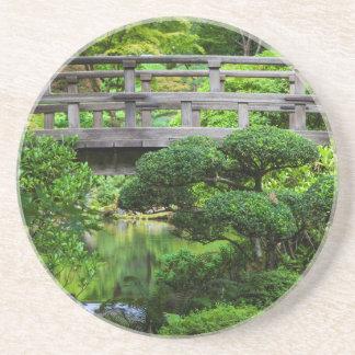 Bridge Over Pond In The Japanese Garden Coaster