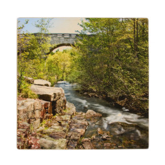 Bridge Over River Maple Wood Coaster