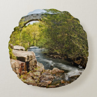 Bridge Over River Round Cushion
