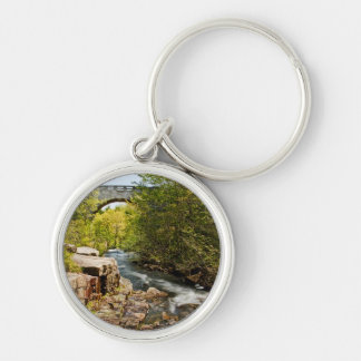 Bridge Over River Silver-Colored Round Key Ring