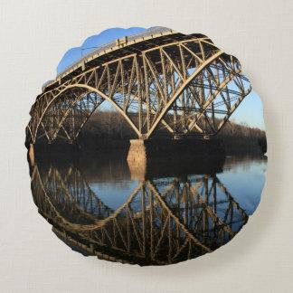 Bridge Over Schuylkill River Round Cushion