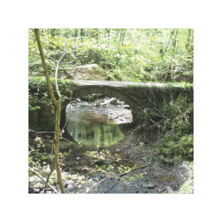Bridge over stream scenery canvas