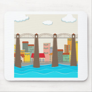Bridge over the river and city mouse pad