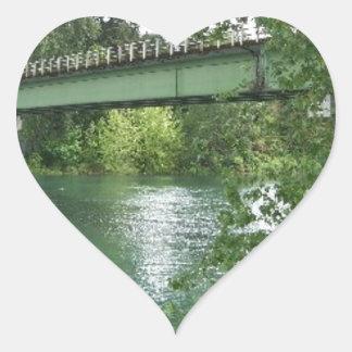 Bridge Over the River Heart Sticker