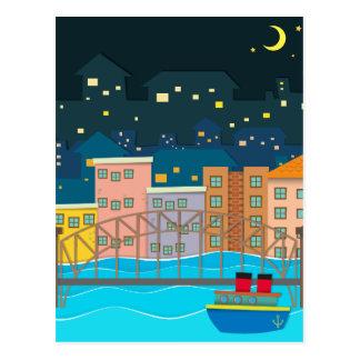 Bridge over the river scene at night postcard
