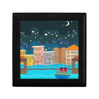 Bridge over the river scene at night small square gift box
